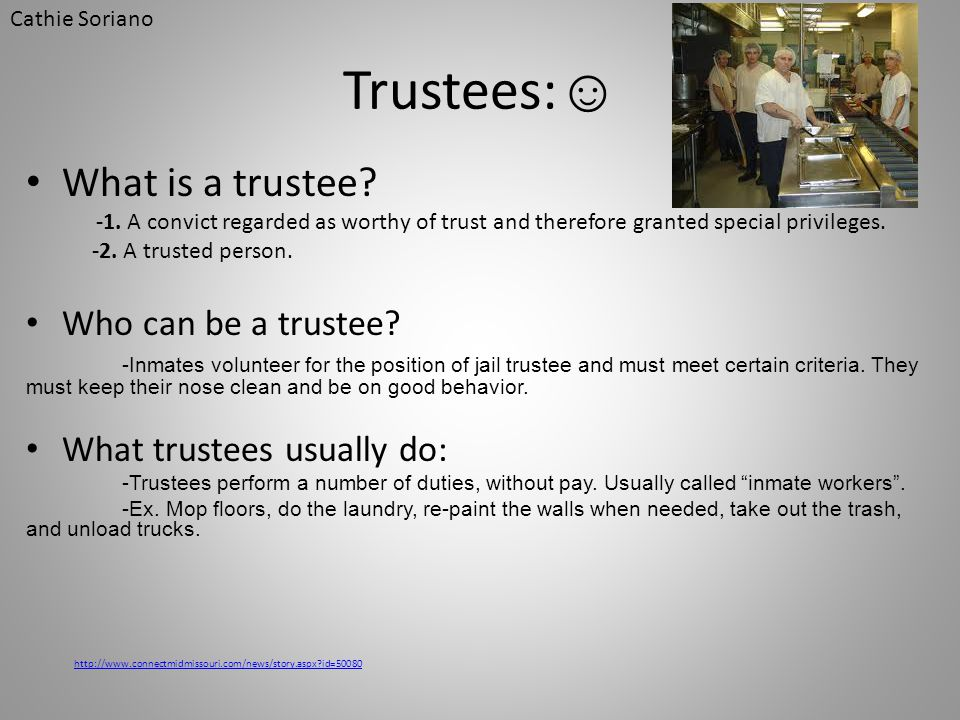Trustees:☺ What is a trustee Who can be a trustee