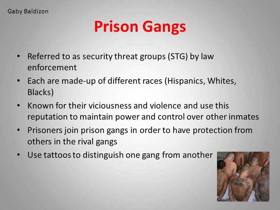 Gaby Baldizon Prison Gangs. Referred to as security threat groups (STG) by law enforcement.