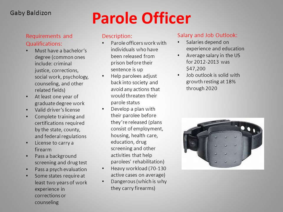 Parole Officer Gaby Baldizon Requirements and Qualifications:
