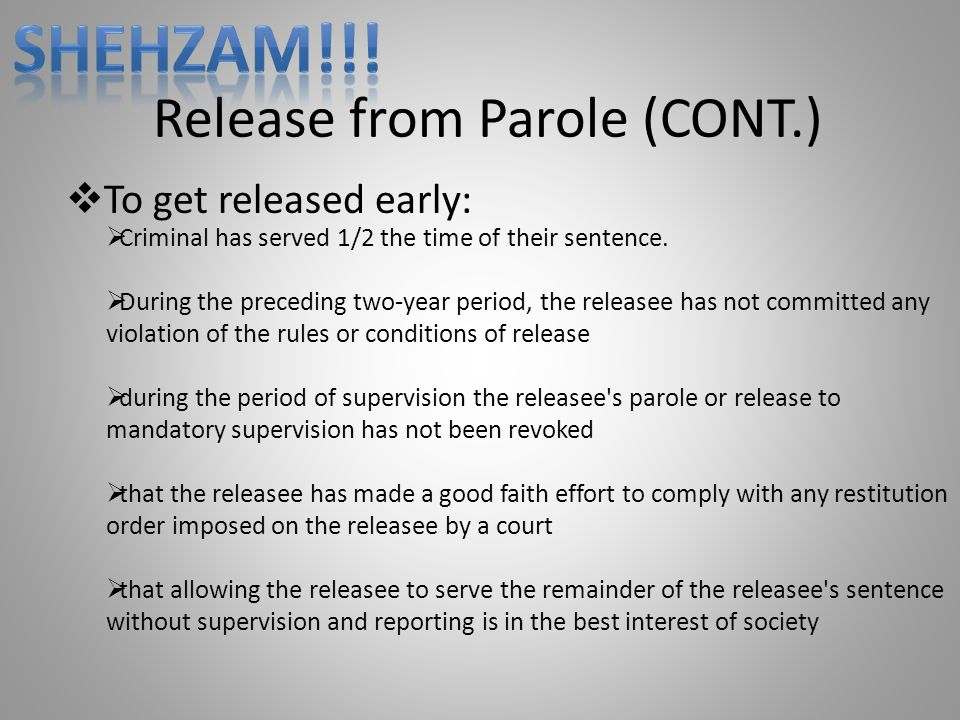 Release from Parole (CONT.)