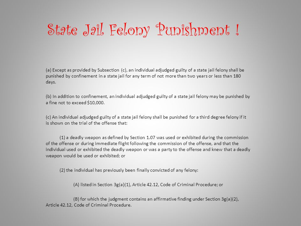 State Jail Felony Punishment !