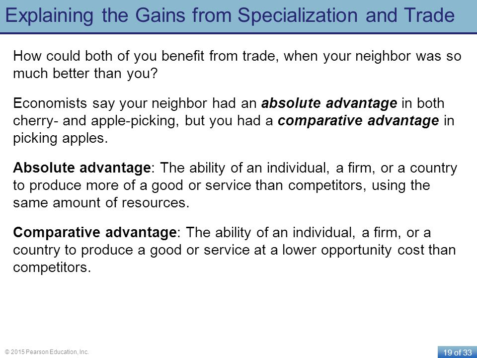 Explaining the Gains from Specialization and Trade