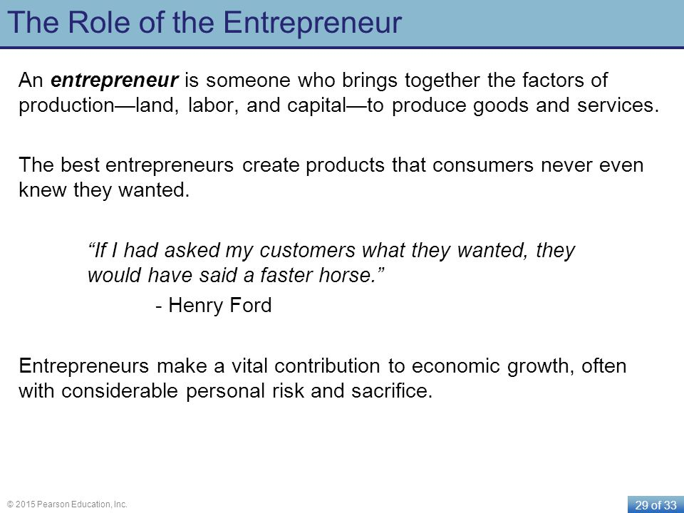 The Role of the Entrepreneur
