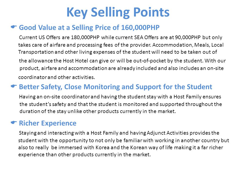 Key Selling Points Good Value at a Selling Price of 160,000PHP