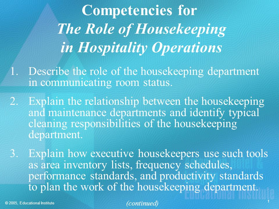 Competencies for The Role of Housekeeping in Hospitality Operations
