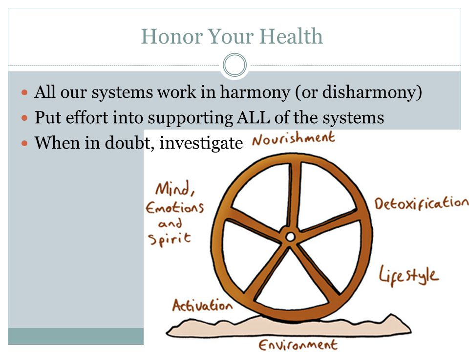 Honor Your Health All our systems work in harmony (or disharmony)