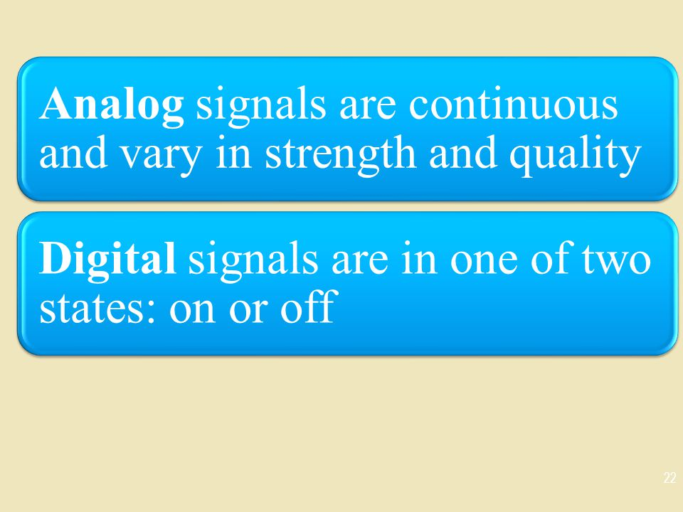 Analog signals are continuous and vary in strength and quality