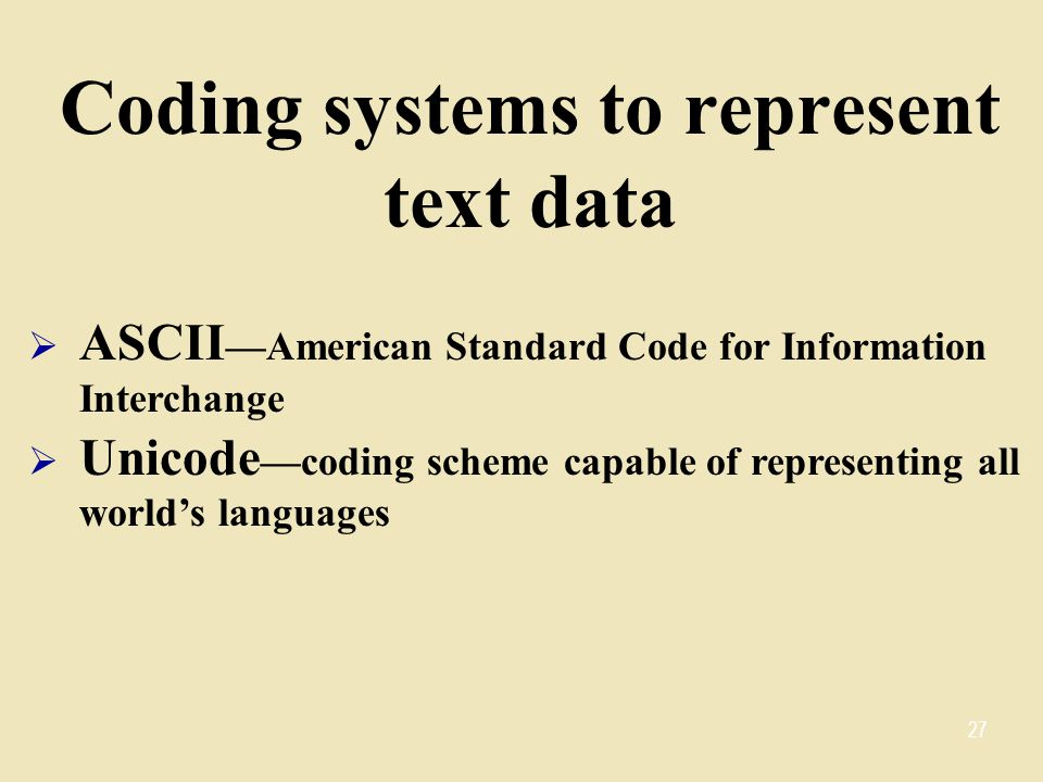 Coding systems to represent text data