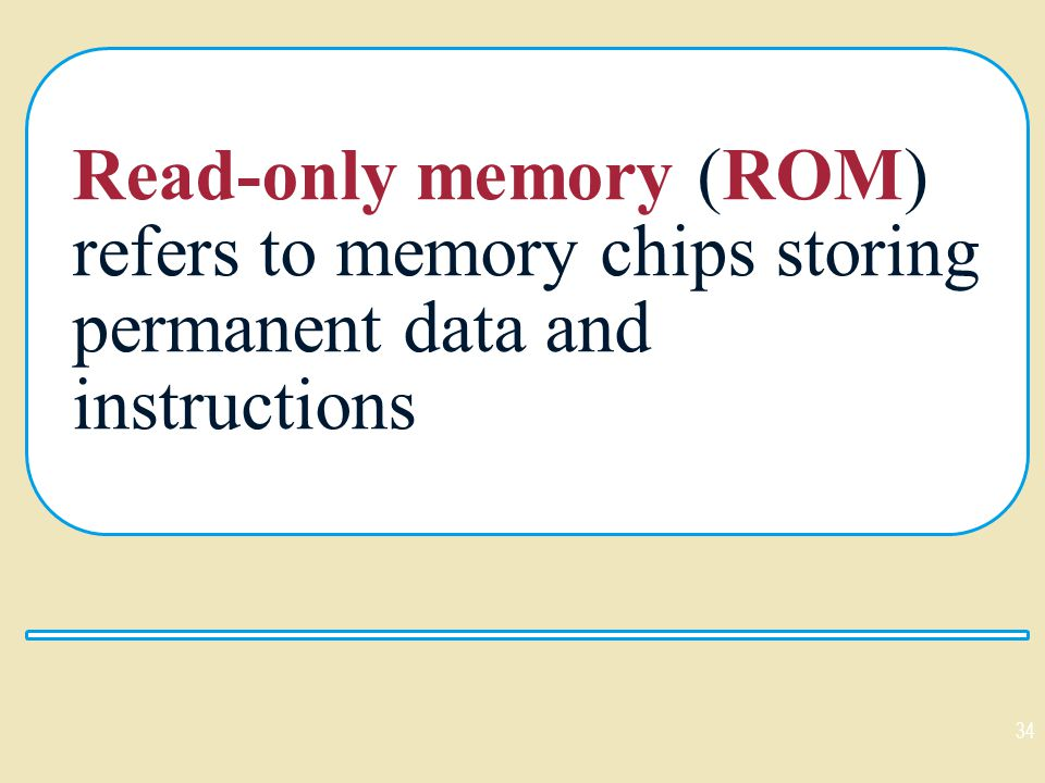 Read-only memory (ROM) refers to memory chips storing permanent data and instructions