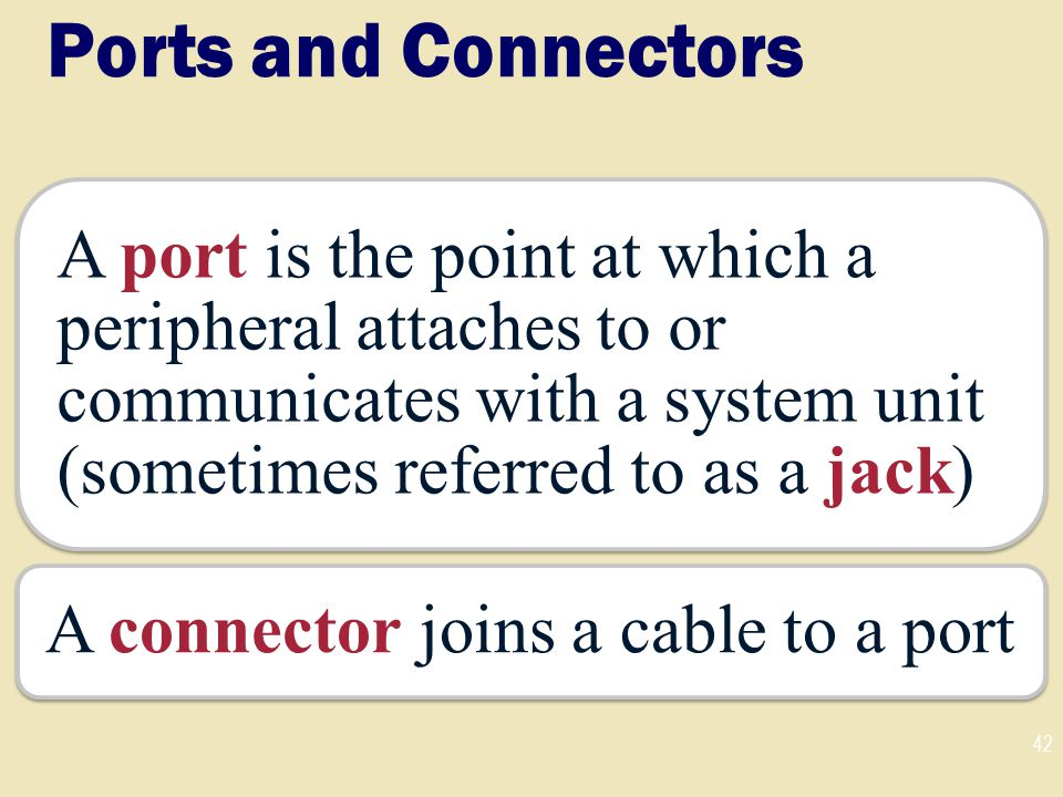 Ports and Connectors A port is the point at which a peripheral attaches to or communicates with a system unit (sometimes referred to as a jack)