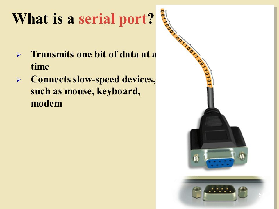 What is a serial port Transmits one bit of data at a time