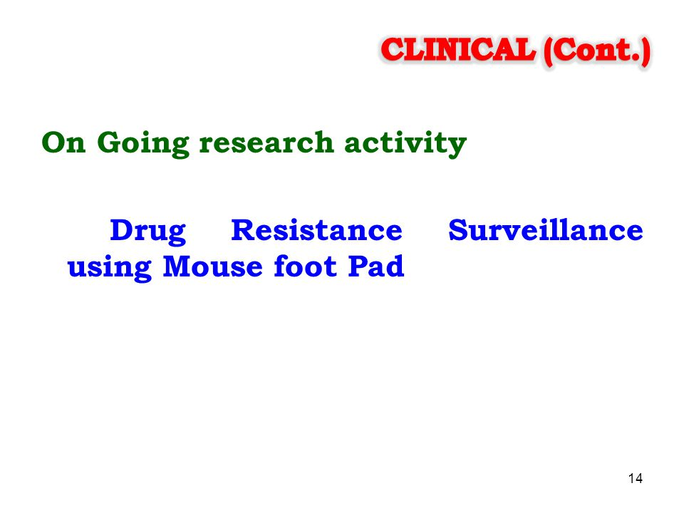 CLINICAL (Cont.) On Going research activity Drug Resistance Surveillance using Mouse foot Pad