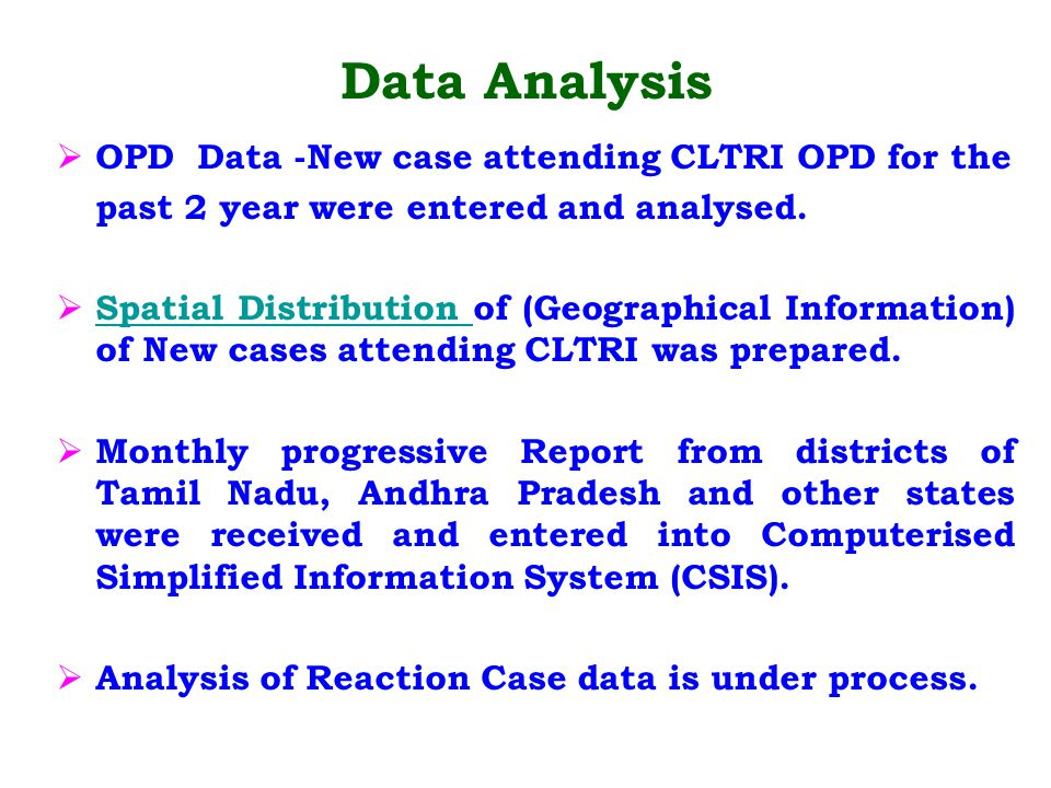 Data Analysis OPD Data -New case attending CLTRI OPD for the