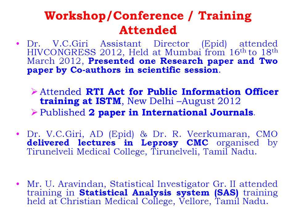 Workshop/Conference / Training Attended