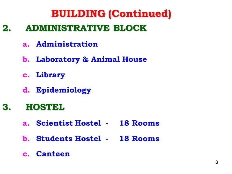 BUILDING (Continued) 2. ADMINISTRATIVE BLOCK 3. HOSTEL Administration