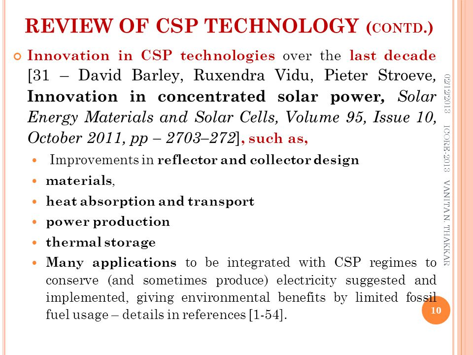 REVIEW OF CSP TECHNOLOGY (contd.)