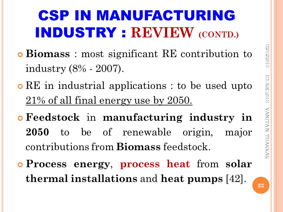 CSP IN MANUFACTURING INDUSTRY : REVIEW (CONTD.)
