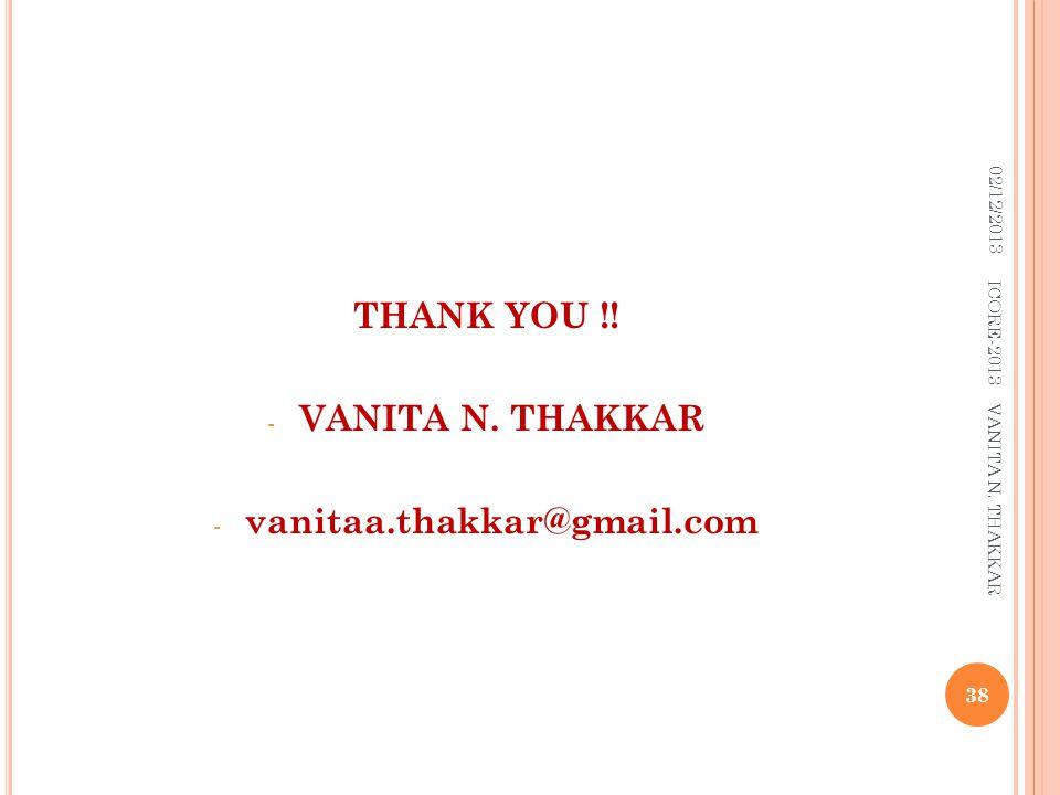 THANK YOU !! VANITA N. THAKKAR vanitaa.thakkar@gmail.com