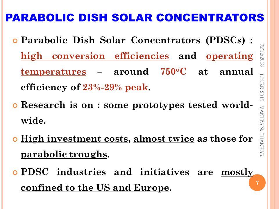 PARABOLIC DISH SOLAR CONCENTRATORS