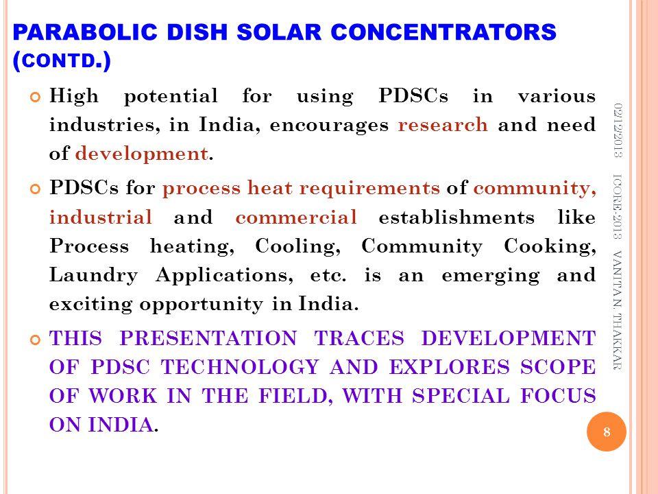 PARABOLIC DISH SOLAR CONCENTRATORS (contd.)