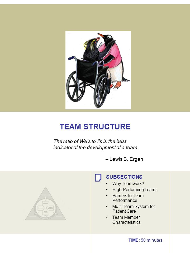 TEAM STRUCTURE The ratio of We's to I's is the best indicator of the development of a team. – Lewis B. Ergen.