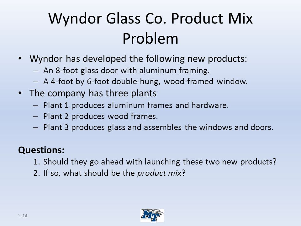 Wyndor Glass Co. Product Mix Problem
