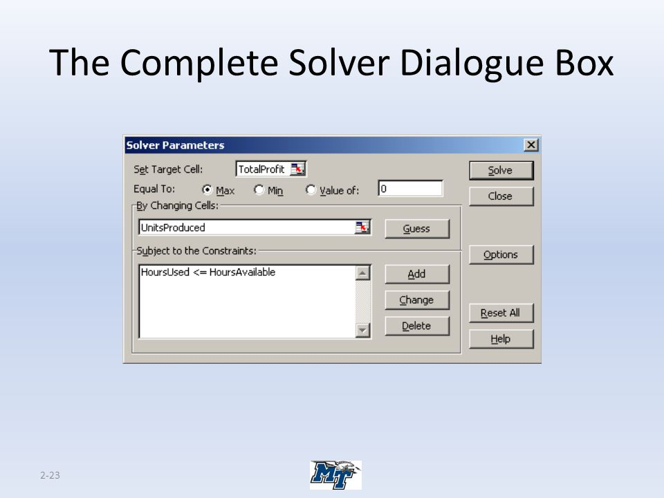 The Complete Solver Dialogue Box