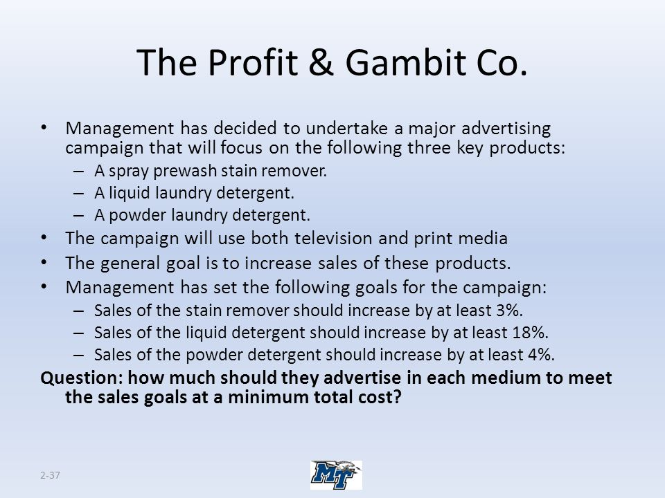 The Profit & Gambit Co. Management has decided to undertake a major advertising campaign that will focus on the following three key products:
