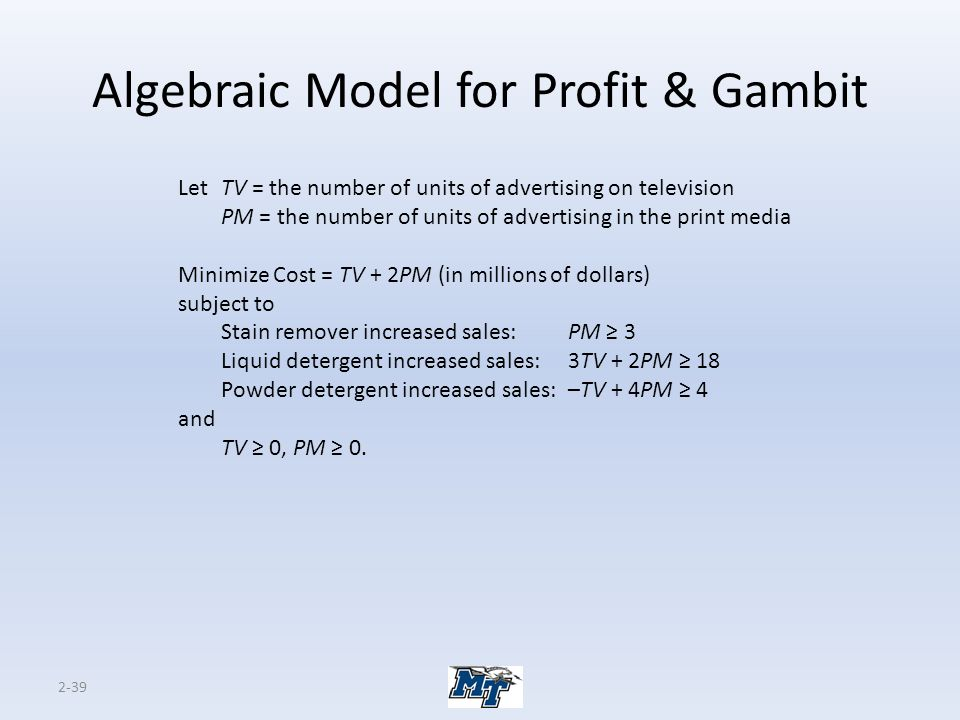 Algebraic Model for Profit & Gambit