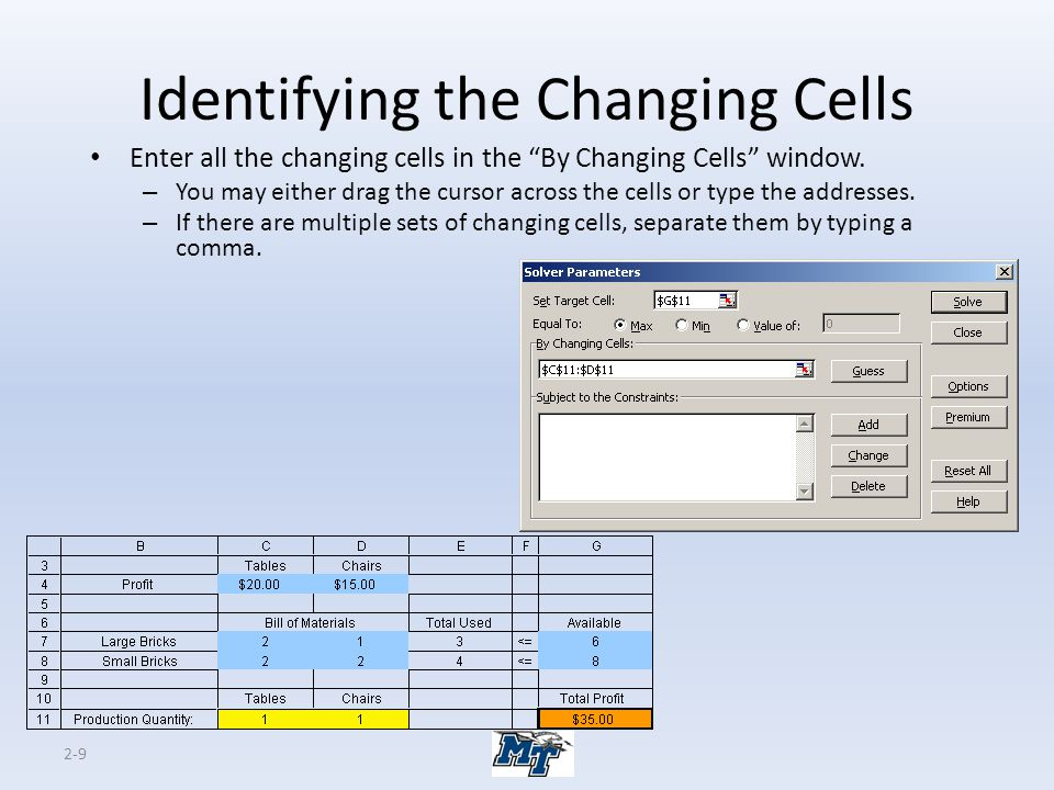 Identifying the Changing Cells
