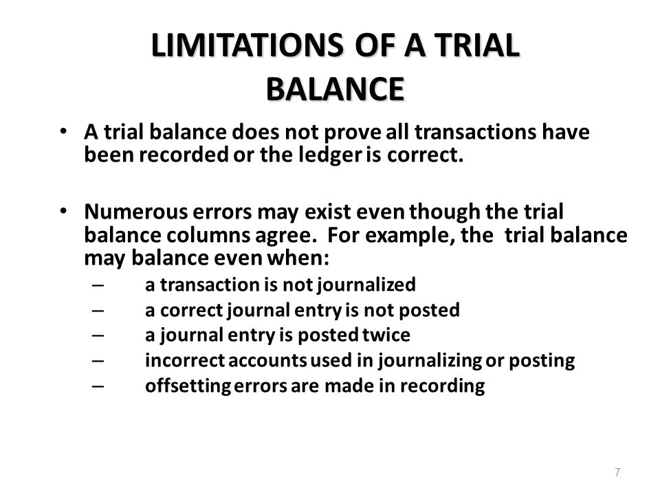 LIMITATIONS OF A TRIAL BALANCE