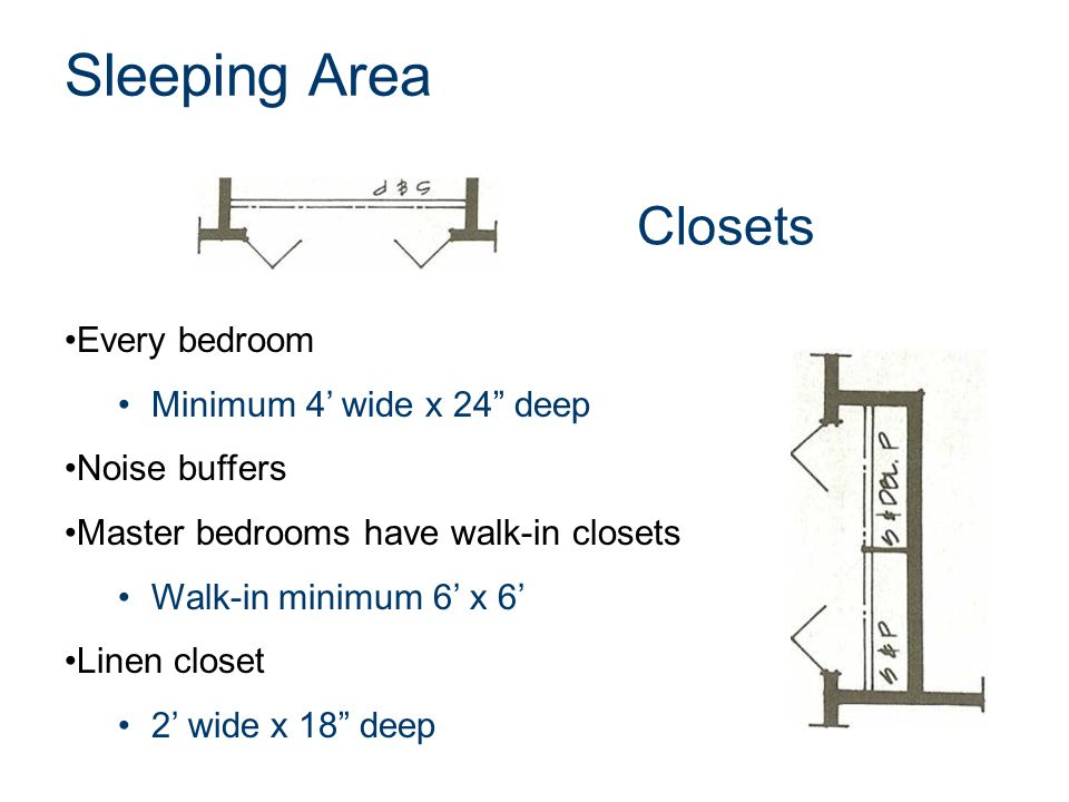 Sleeping Area Closets Every bedroom Minimum 4' wide x 24 deep