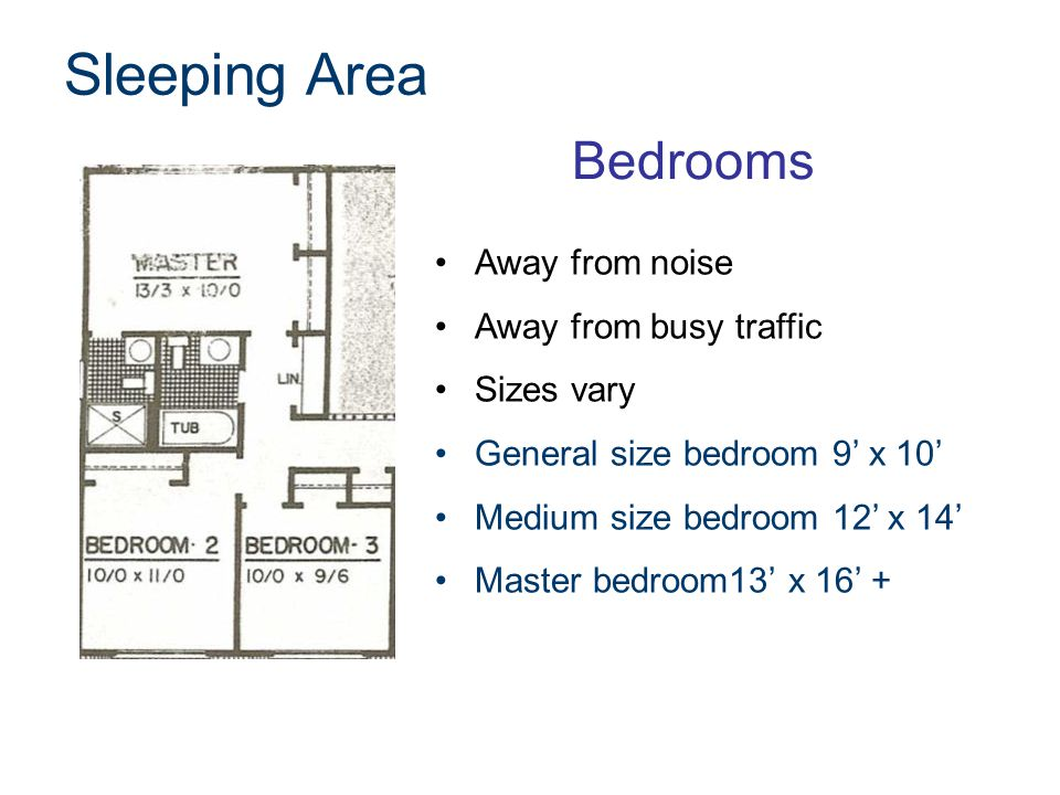 Sleeping Area Bedrooms Away from noise Away from busy traffic