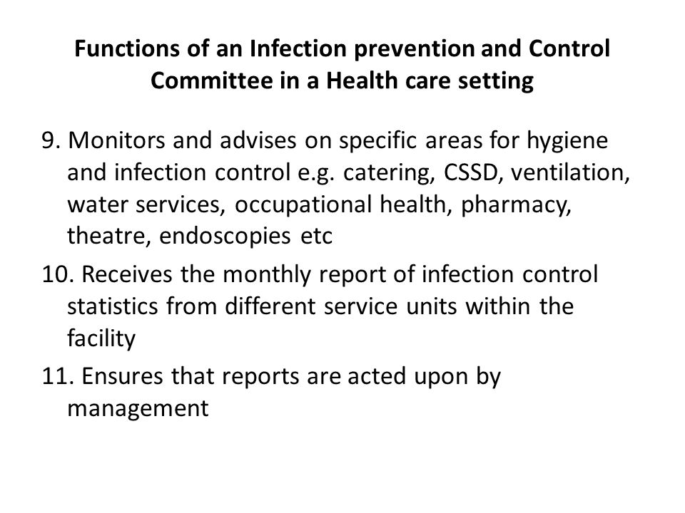 Functions of an Infection prevention and Control Committee in a Health care setting