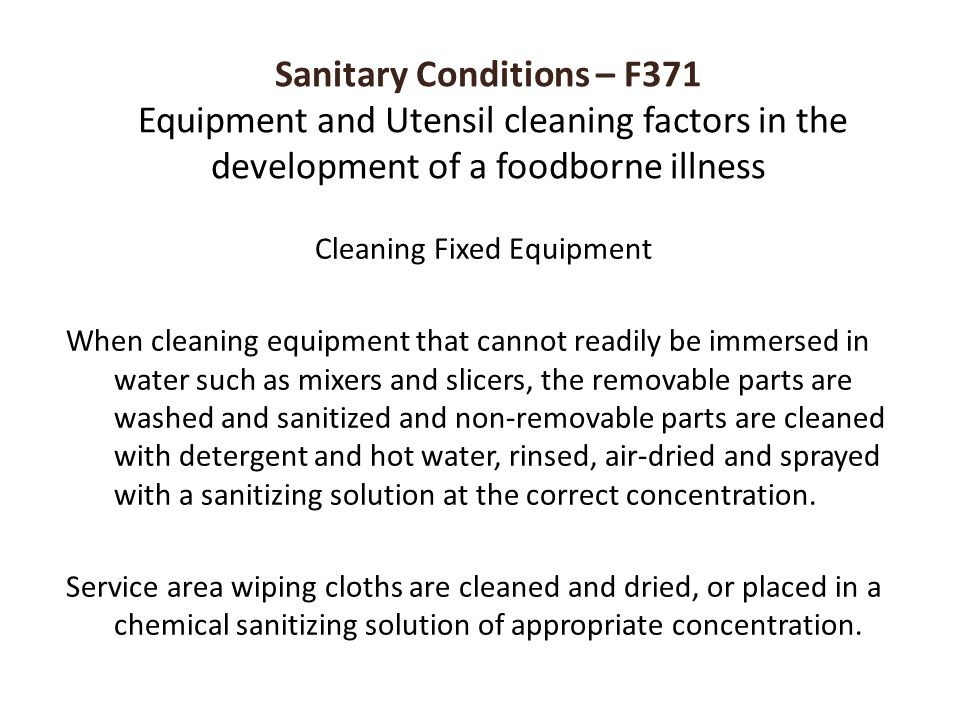Cleaning Fixed Equipment