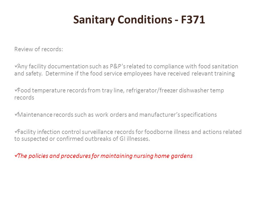 Sanitary Conditions - F371