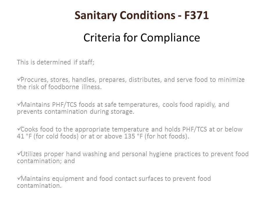 Sanitary Conditions - F371 Criteria for Compliance