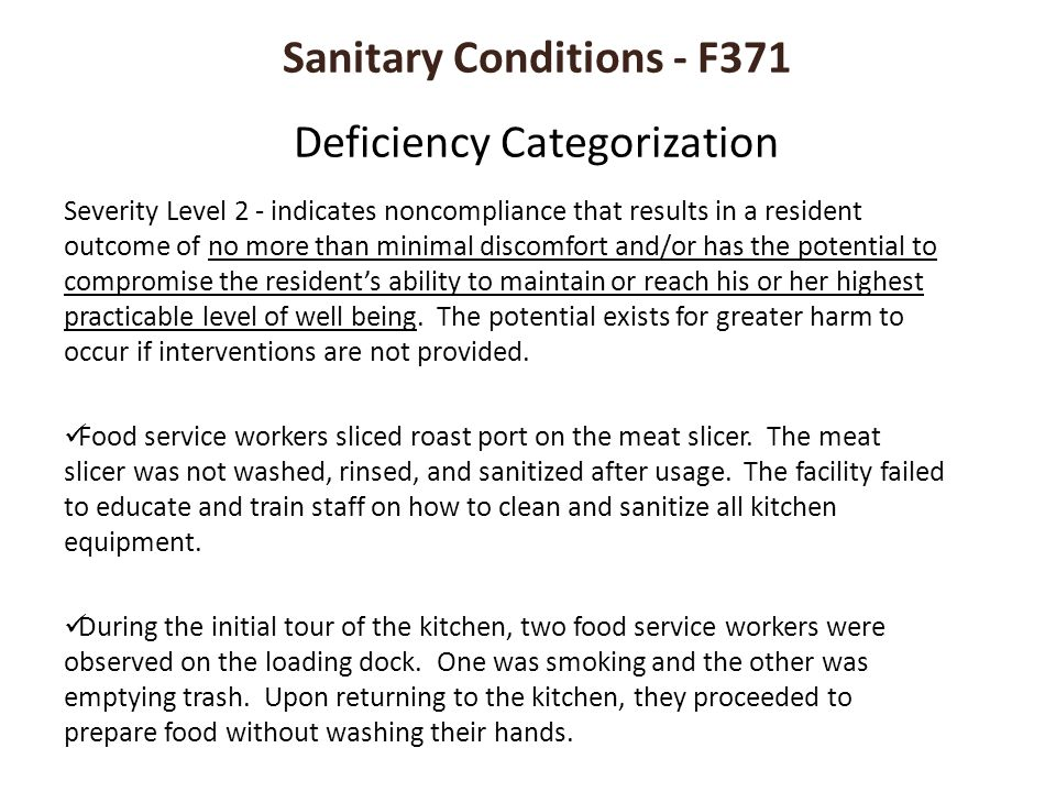 Sanitary Conditions - F371 Deficiency Categorization