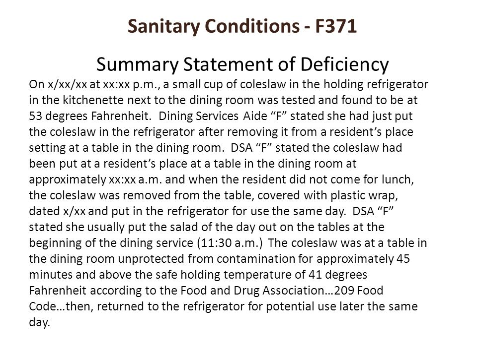Sanitary Conditions - F371 Summary Statement of Deficiency