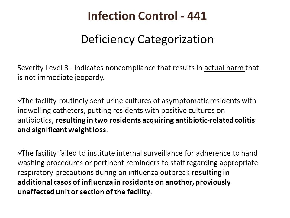 Infection Control - 441 Deficiency Categorization