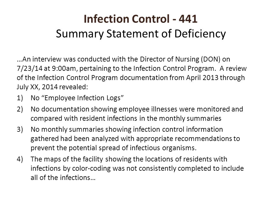 Infection Control - 441 Summary Statement of Deficiency