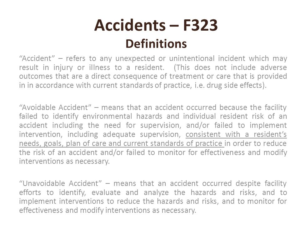 Accidents – F323 Definitions