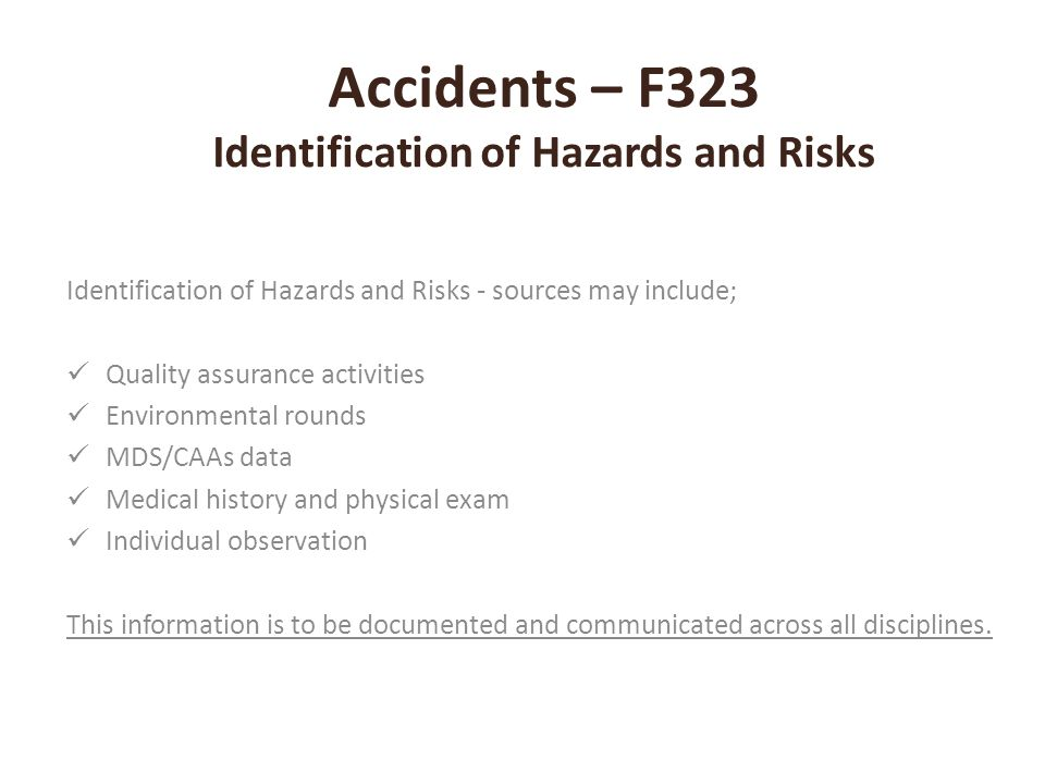 Accidents – F323 Identification of Hazards and Risks
