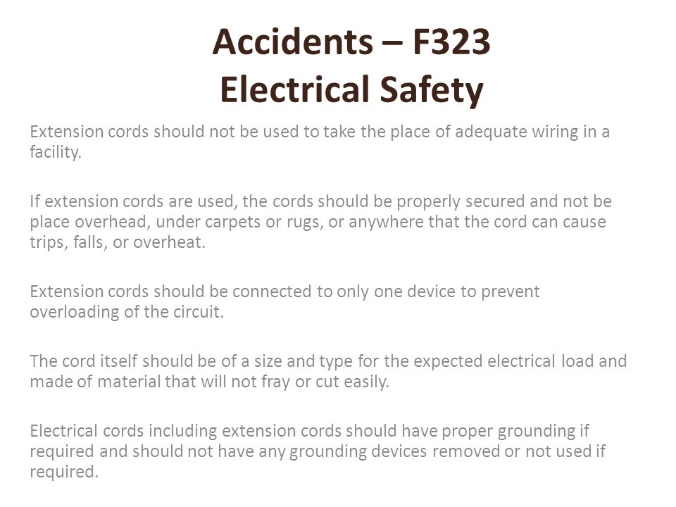 Accidents – F323 Electrical Safety