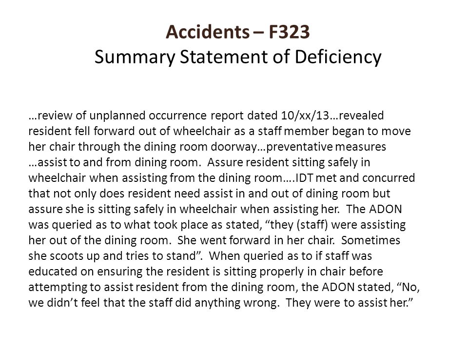 Accidents – F323 Summary Statement of Deficiency