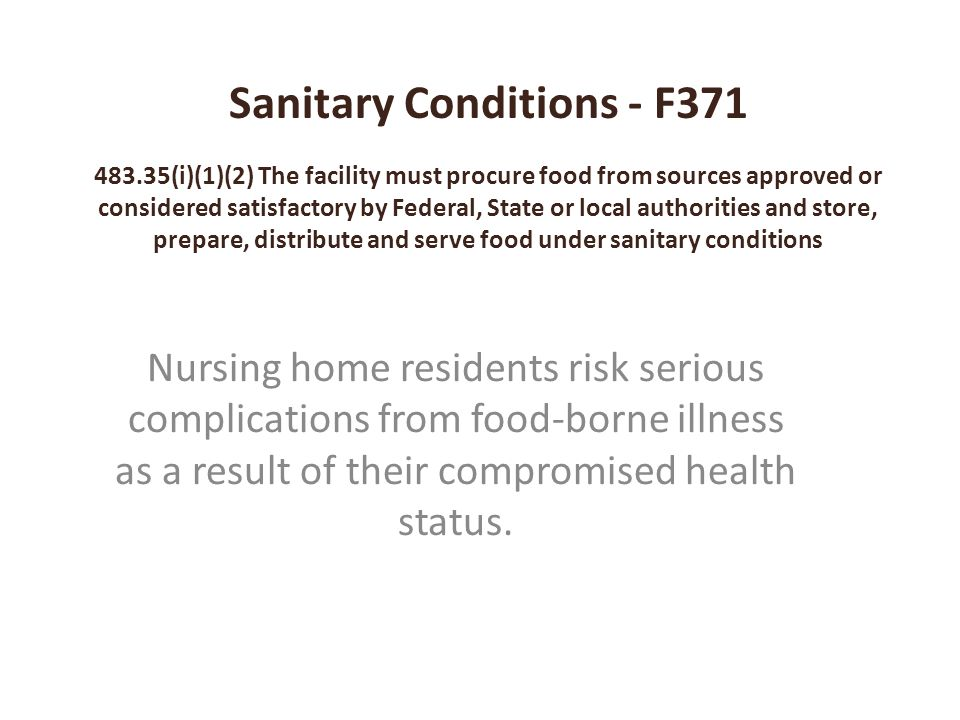 Sanitary Conditions - F371 483