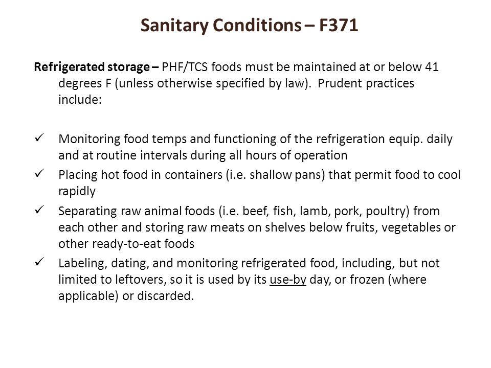 Sanitary Conditions – F371