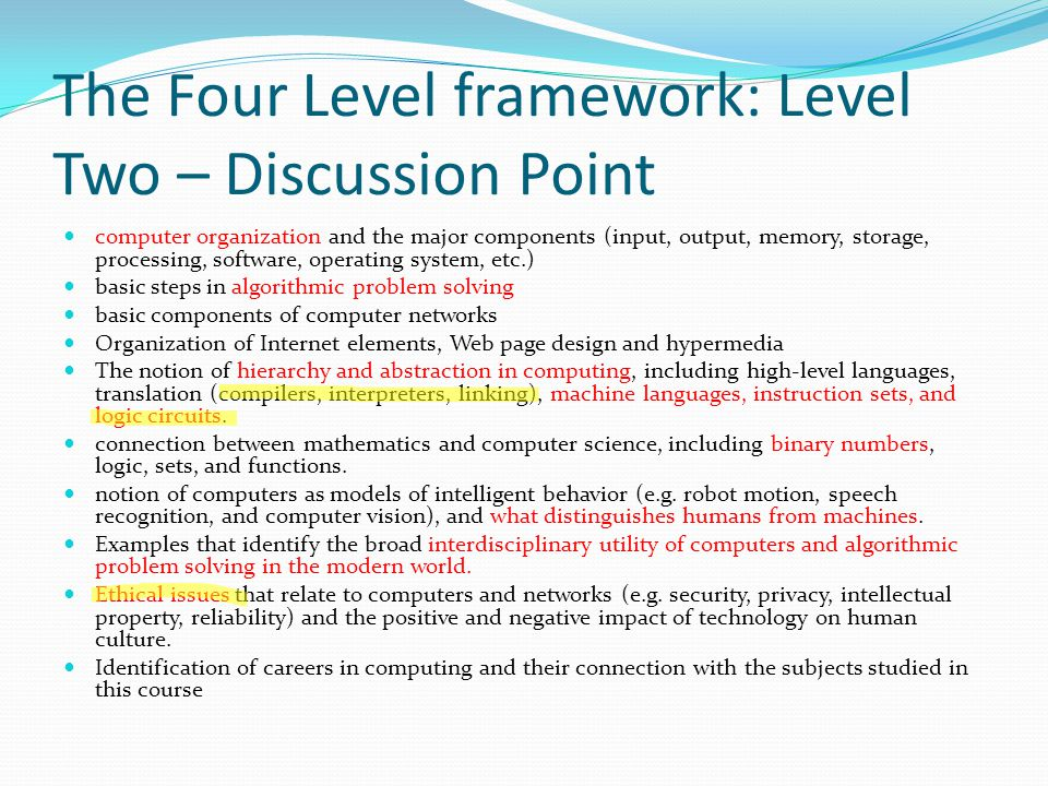 The Four Level framework: Level Two – Discussion Point