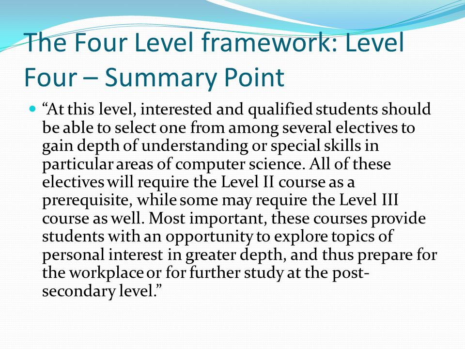 The Four Level framework: Level Four – Summary Point