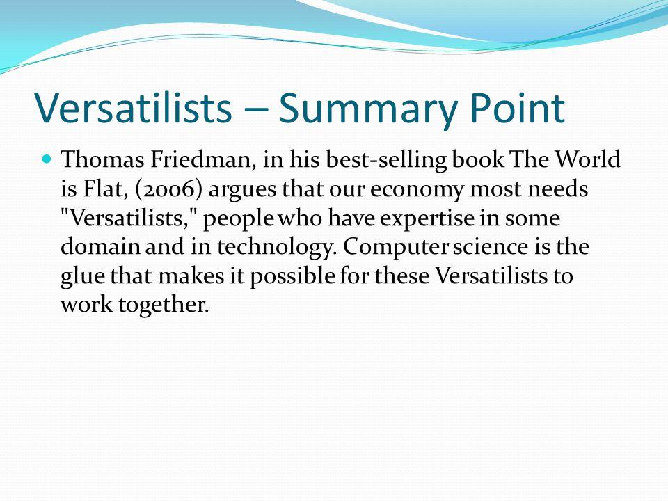 Versatilists – Summary Point